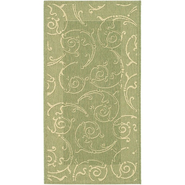 Safavieh Oasis Scrollwork Olive Green/ Natural Indoor/ Outdoor Rug - 2'7 x 5'