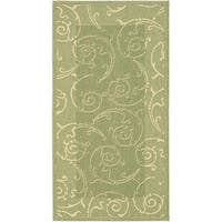 Safavieh Oasis Scrollwork Olive Green/ Natural Indoor/ Outdoor Rug - 4' x 5'7