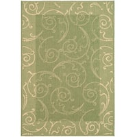 Safavieh Oasis Scrollwork Olive Green/ Natural Indoor/ Outdoor Rug - 5'3 x 7'7