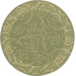 Safavieh Oasis Scrollwork Olive Green/ Natural Indoor/ Outdoor Rug (5'3 Round)
