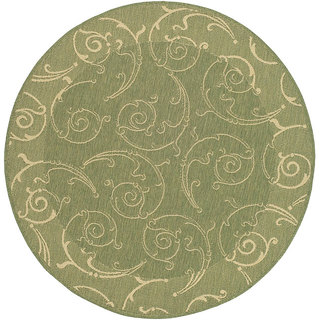Safavieh Oasis Scrollwork Olive Green/ Natural Indoor/ Outdoor Rug (5'3 Round)