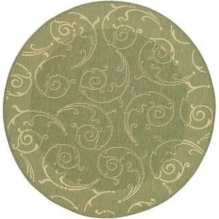 "Safavieh Oasis Scrollwork Olive Green/ Natural Indoor/ Outdoor Rug - 5'3"" x 5'3"" round"