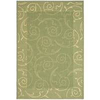 Safavieh Oasis Scrollwork Olive Green/ Natural Indoor/ Outdoor Rug - 6'7 x 9'6
