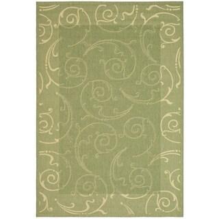 Safavieh Oasis Scrollwork Olive Green/ Natural Indoor/ Outdoor Rug - 6'7 x 9'6
