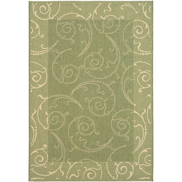 Safavieh Oasis Scrollwork Olive Green/ Natural Indoor/ Outdoor Rug ...