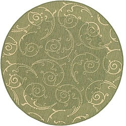 Safavieh Oasis Scrollwork Olive Green/ Natural Indoor/ Outdoor Rug (6'7 Round)