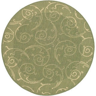 Safavieh Oasis Scrollwork Olive Green/ Natural Indoor/ Outdoor Rug (6'7 Round)