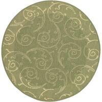 "Safavieh Oasis Scrollwork Olive Green/ Natural Indoor/ Outdoor Rug - 6'7"" x 6'7"" round"