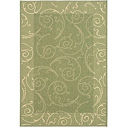 Safavieh Oasis Scrollwork Olive Green/ Natural Indoor/ Outdoor Rug (8' x 11')