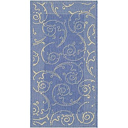 Safavieh Oasis Scrollwork Blue/ Natural Indoor/ Outdoor Rug (2'7 x 5')