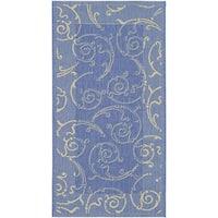 Safavieh Oasis Scrollwork Blue/ Natural Indoor/ Outdoor Rug - 2'7 x 5'