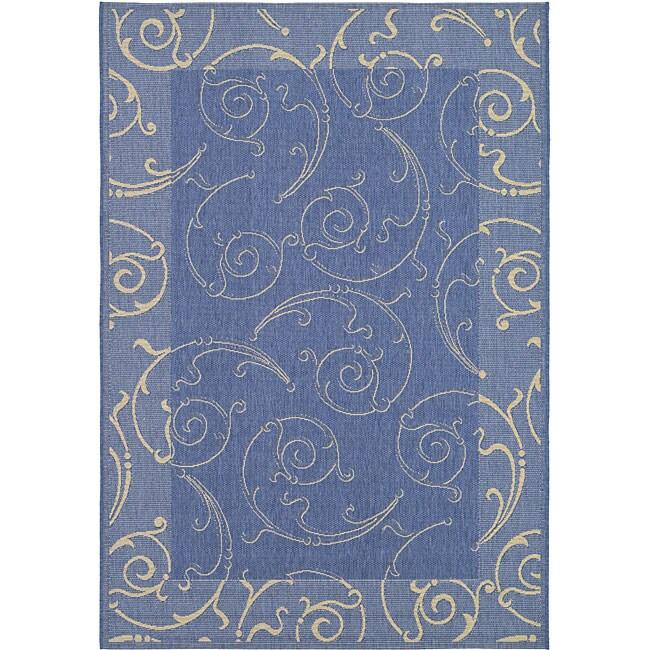 Safavieh Oasis Scrollwork Blue/ Natural Indoor/ Outdoor Rug (4' x 5'7)
