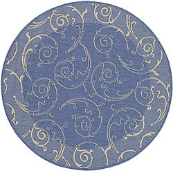Safavieh Indoor/ Outdoor Oasis Blue/ Natural Rug (5'3 Round)
