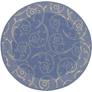 Safavieh Oasis Scrollwork Blue/ Natural Indoor/ Outdoor Rug (5'3 Round)
