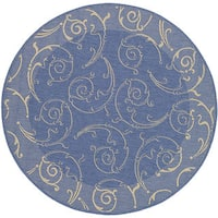 Safavieh Oasis Scrollwork Blue/ Natural Indoor/ Outdoor Rug - 6'7