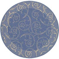 "Safavieh Oasis Scrollwork Blue/ Natural Indoor/ Outdoor Rug - 6'7"" x 6'7"" round"