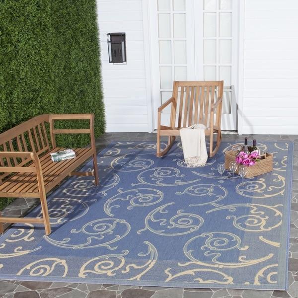 Safavieh Oasis Scrollwork Blue/ Natural Indoor/ Outdoor Rug - 8' x 11'