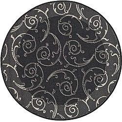 Safavieh Oasis Scrollwork Black/ Sand Indoor/ Outdoor Rug (5'3 Round)