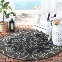 Safavieh Oasis Scrollwork Black/ Sand Indoor/ Outdoor Rug - 5'3