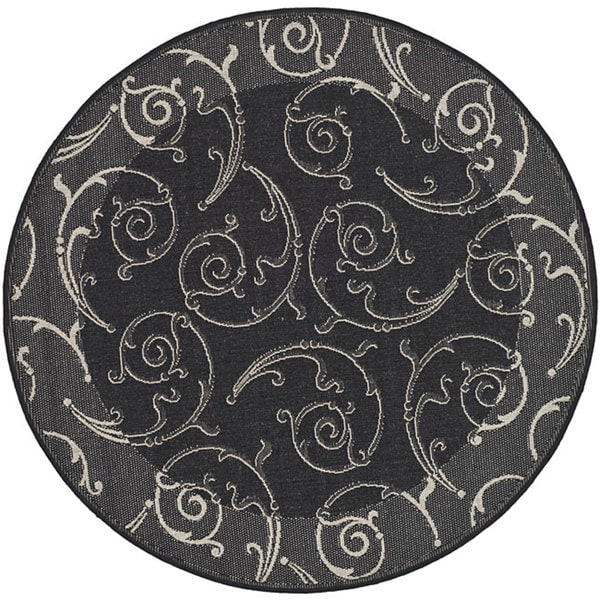 Safavieh Oasis Scrollwork Black/ Sand Indoor/ Outdoor Rug (5'3 Round)