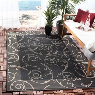 Safavieh Oasis Scrollwork Black/ Sand Indoor/ Outdoor Rug (6'7 x 9'6)