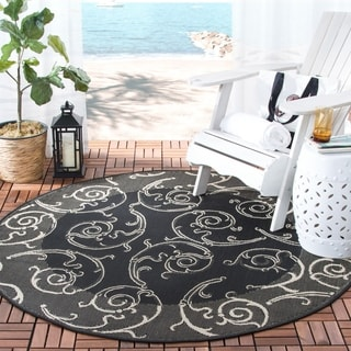 Safavieh Oasis Scrollwork Black/ Sand Indoor/ Outdoor Rug (6'7 Round)