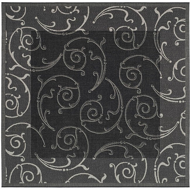 Safavieh Oasis Scrollwork Black/ Sand Indoor/ Outdoor Rug (7'10 Square)