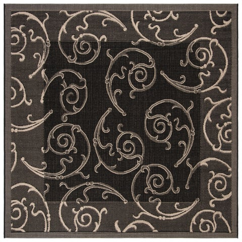 "Safavieh Oasis Scrollwork Black/ Sand Indoor/ Outdoor Rug - 7'10"" x 7'10"" Square"
