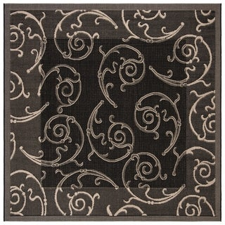 Safavieh Oasis Scrollwork Black/ Sand Indoor/ Outdoor Rug (7'10 Square)