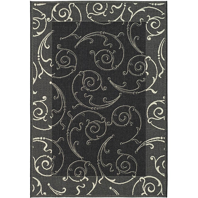 Safavieh Oasis Scrollwork Black/ Sand Indoor/ Outdoor Rug (9' x 12')