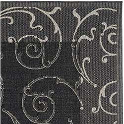 Safavieh Oasis Scrollwork Black/ Sand Indoor/ Outdoor Rug (9' x 12') - Thumbnail 1
