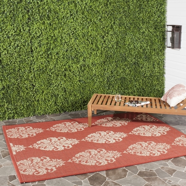 """Safavieh St. Martin Damask Red/ Natural Indoor/ Outdoor Rug - 6'7"""" x 6'7"""" square"""