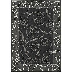 Safavieh Oasis Scrollwork Black/ Sand Indoor/ Outdoor Rug (8' x 11')