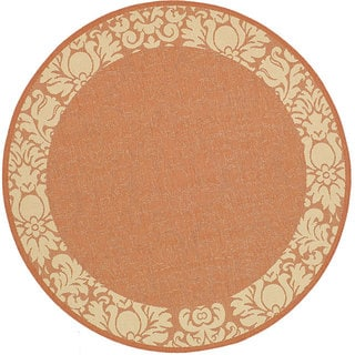 Safavieh Kaii Damask Terracotta/ Natural Indoor/ Outdoor Rug (6'7 Round)