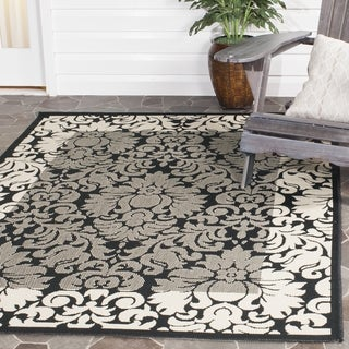 Safavieh Kaii Damask Black/ Sand Indoor/ Outdoor Rug (7'10 Square)