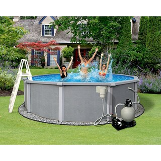 Zanzibar Round 54-inch Deep, 8-inch Top Rail Metal Wall Swimming Pool Package