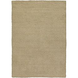 Hand-woven Mandara Beige Wool Shag Rug (2' x 3')