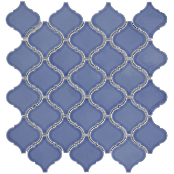 SomerTile 12.5x12.5-in Morocco Blue Porcelain Mosaic Tile (Pack of 10)