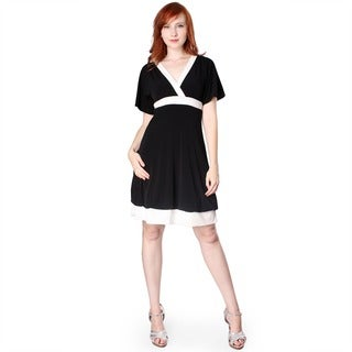 Evanese Women's Short Kimono-sleeve Bubble-skirt Dress