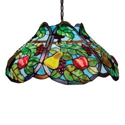 Bronze Tiffany-style Fruit Motif 2-light Pendant