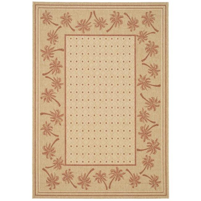 Safavieh Courtyard Palm Tree Ivory/ Rust Indoor/ Outdoor Rug - 5'3 x 7'7