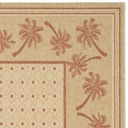 Safavieh Courtyard Palm Tree Ivory/ Rust Indoor/ Outdoor Rug (5'3 x 7'7) - Thumbnail 1