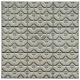 SomerTile 4x4-in Mercury Metal Hexagon Porcelain D�cor Tile (Pack of 9)