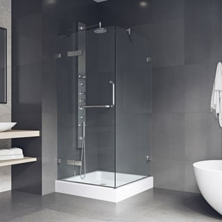 "VIGO Monteray Frameless Shower Enclosure With Base (36 x 36) - 36 1/8"" L x 36 1/8"" W x 79 1/4"" H"