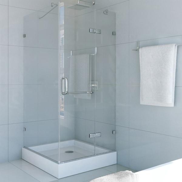 Shop VIGO Frameless Square Clear Shower Enclosure and Base (36 x 36 ...