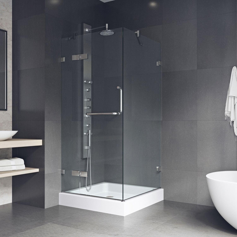 Vigo Monteray Frameless Shower Enclosure With Base 36 X 1 8 L W 79 4 H