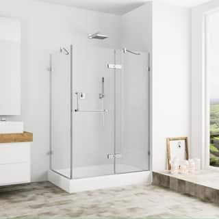 Vigo Frameless Clear Shower Enclosure And Right Base 32 X 40