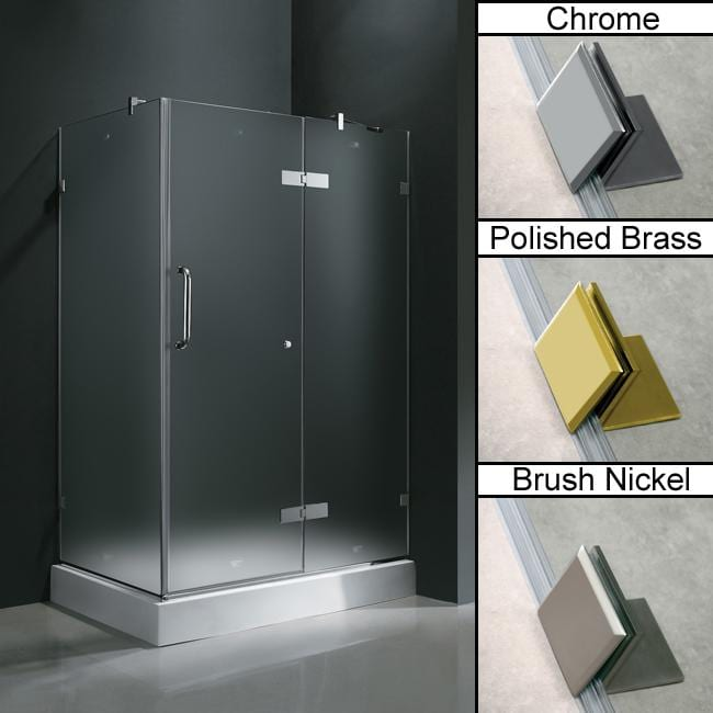 Vigo Frameless Frosted Shower Enclosure with Right Door & Base (32 x 48)