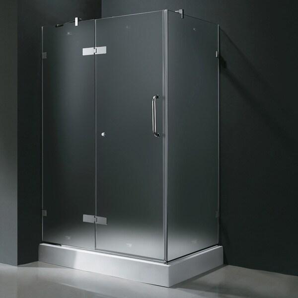 Shop Vigo Frameless Frosted Shower Enclosure With Left Door Base