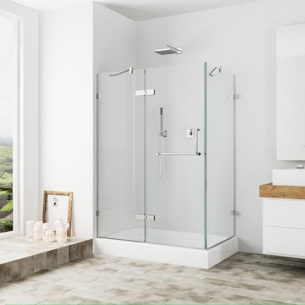 Shop Vigo Frameless Clear Shower Enclosure And Left Base 32 X 48
